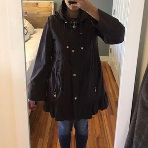 Betsey Johnson Raincoat Parka Brown Small Faux Fur
